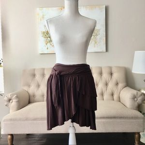 Zara Brown Tattered Skirt
